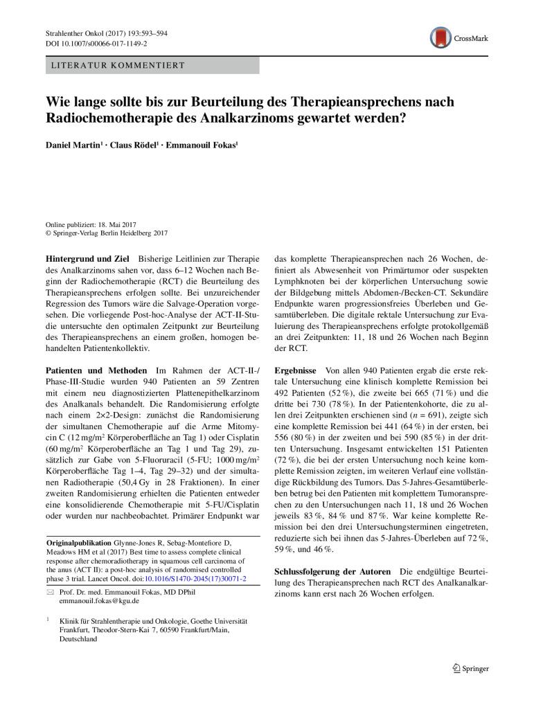 thumbnail of Strahlentherapie_Literatur kommentiert_Juli 2017